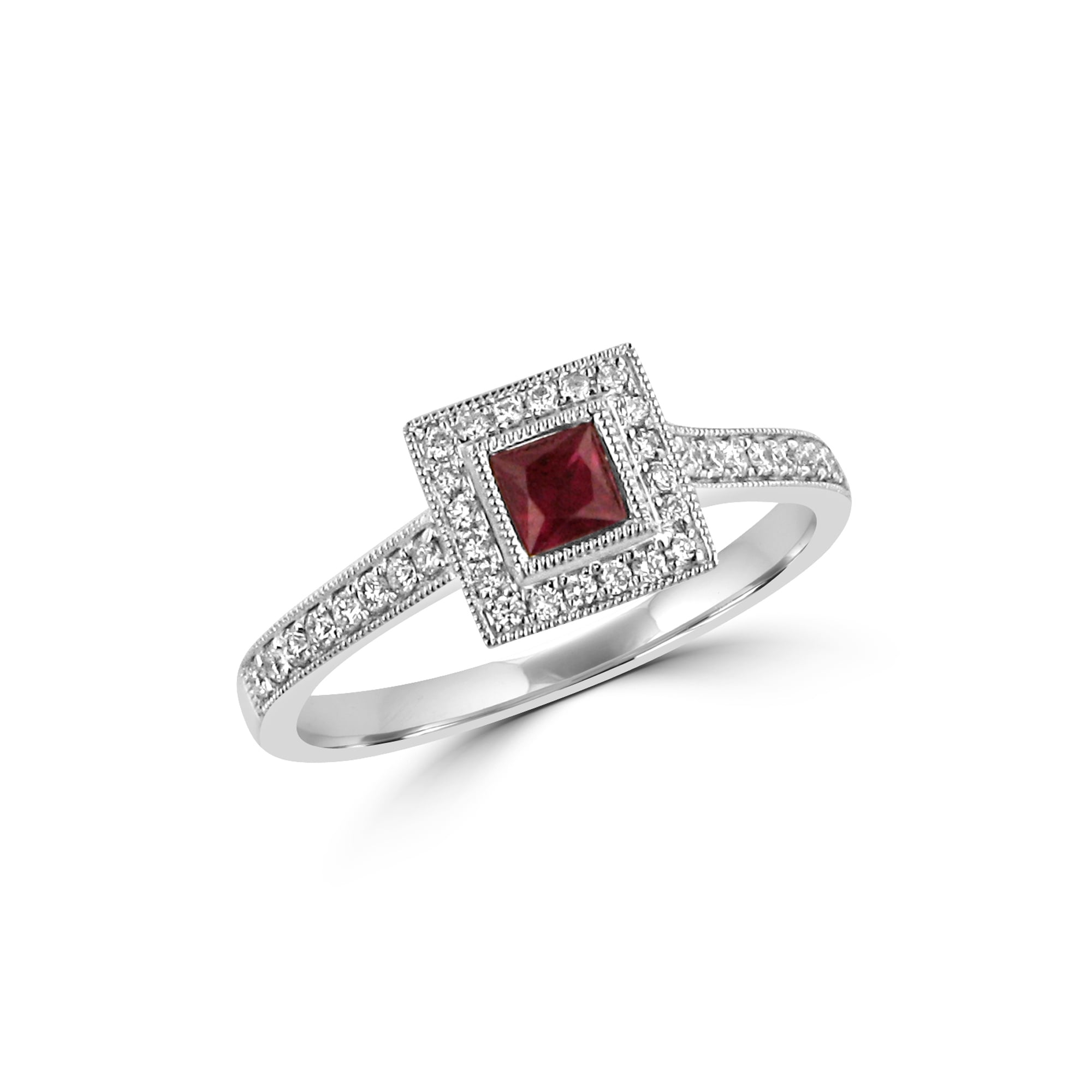 White Gold Ruby And Diamond Deco Cluster Ring Womens