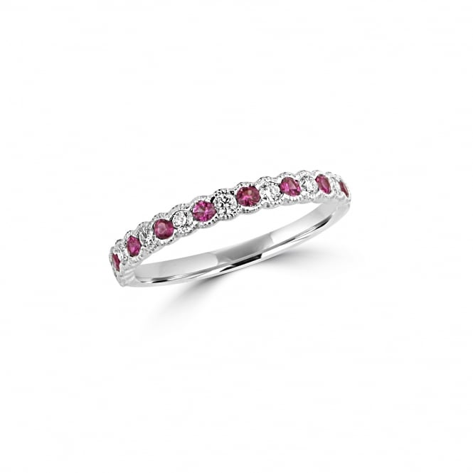 White Gold Ruby and Diamond Eternity Band Ring