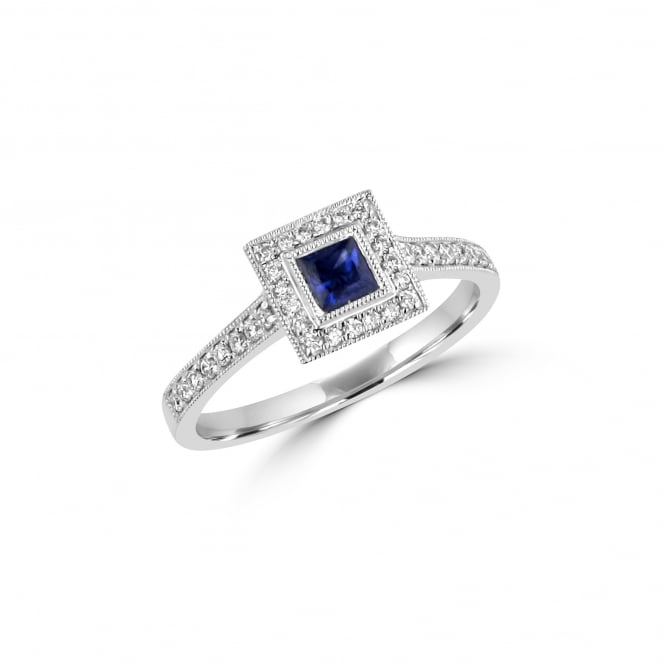 White Gold Sapphire and Diamond Deco Cluster Ring