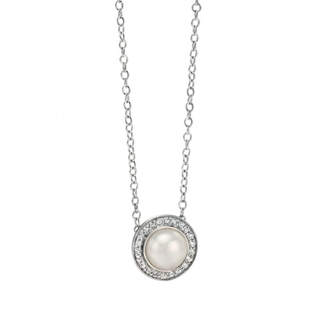 Fiorelli White Pearl and Cubic Zirconia Silver Necklace N3730W