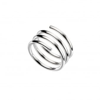 Wide Silver Coiled Wire Wrap Ring RSD36371