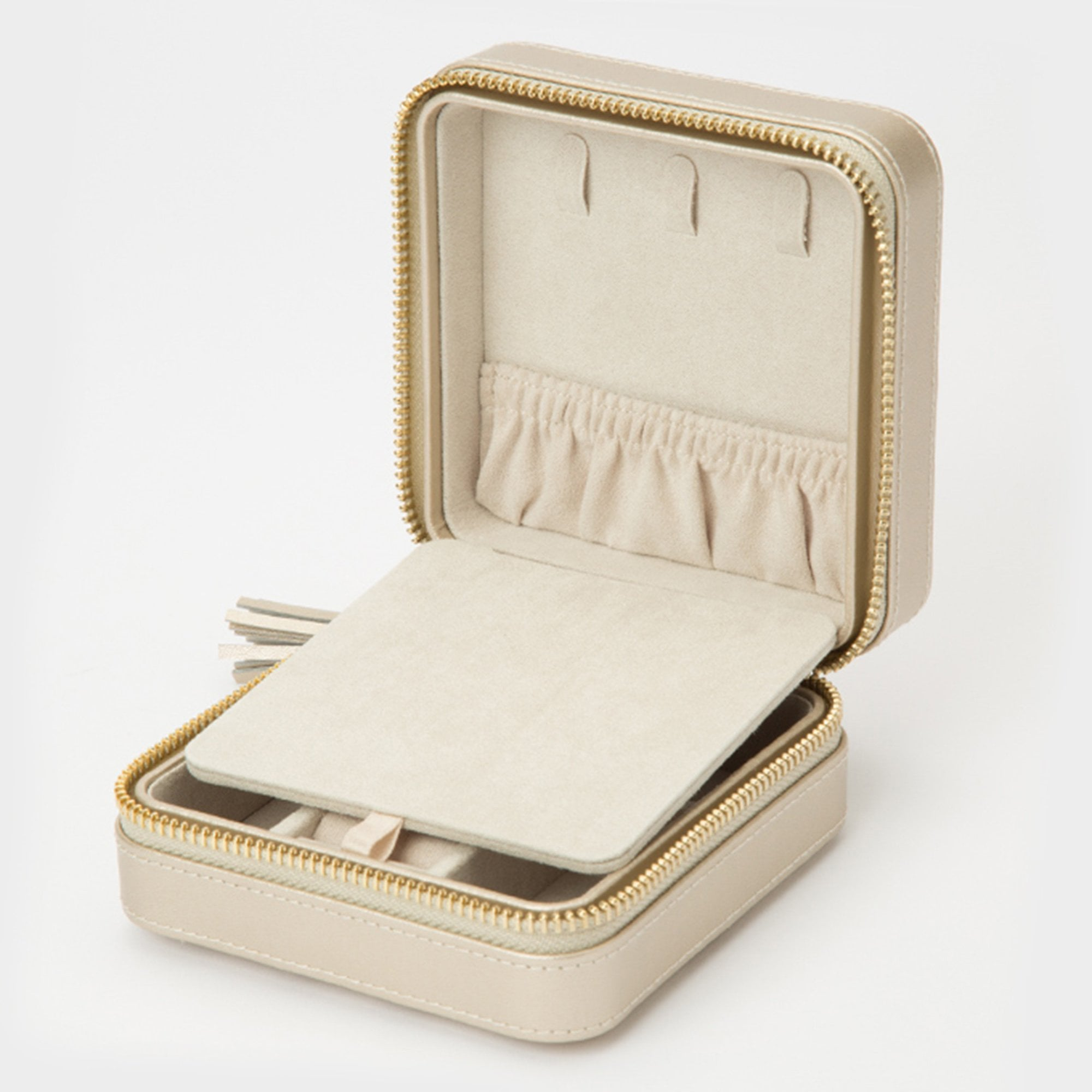 Small Champagne Travel Leather Jewellery Zip Case