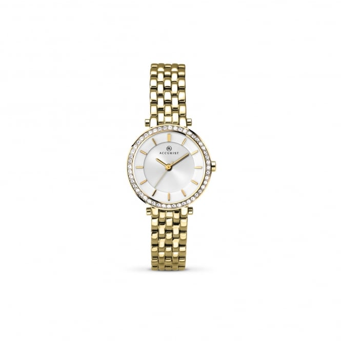 Accurist Womens Gold Plated Watch With Swarovski Crystals 8122