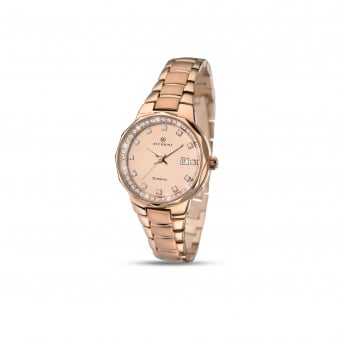 Womens Accurist Rose Gold Plated Steel Watch 8017