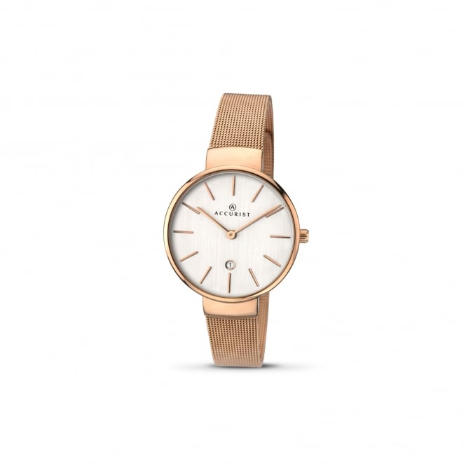Accurist Womens Rose Gold Plated Watch With large Silver Dial 8079