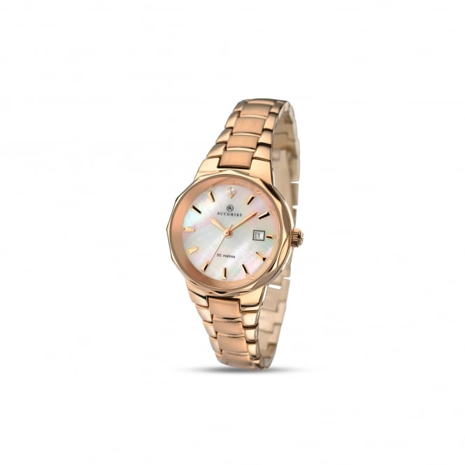Accurist Womens Rose Gold Plated Watch With Mother of Pearl Dial 8020