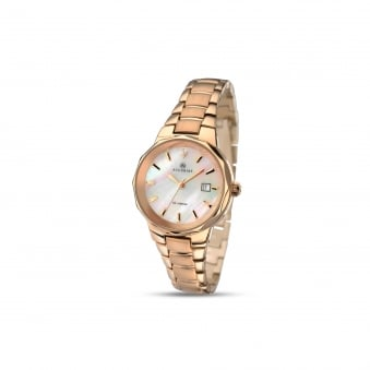 Womens Accurist Rose Gold Plated Watch With Mother of Pearl Dial 8020