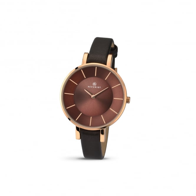 Accurist Womens Rose Plated Watch With large Dial and Leather Strap 8088
