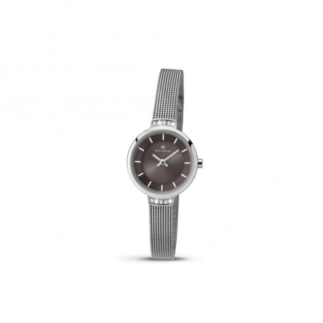 Accurist Womens Steel Watch With Dark Grey Dial 8090