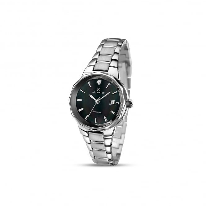 Accurist Womens Steel Watch With Round Black Dial 8018