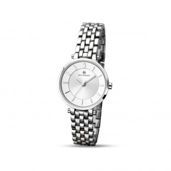 Womens Accurist Steel Watch With Round Silver Dial 8006