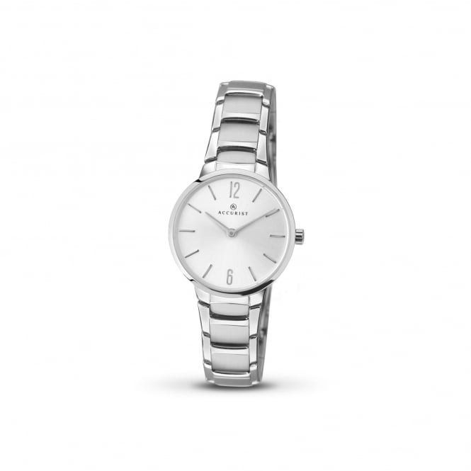 Accurist Womens Steel Watch With Round Silver Face 8102