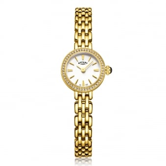 Womens Gold Plated Crystal Bezel Set Rotary Watch