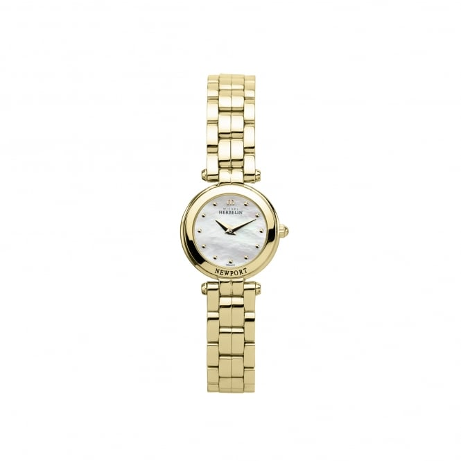 Michel Herbelin Womens Gold Plated NewPort Mini Watch 17455/BP19
