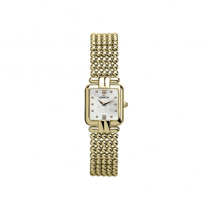 Michel Herbelin Womens Gold Plated Square Face Watch With Perle Bracelet Strap 17473/BP59