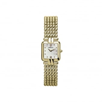Womens Gold Plated Square Face Michel Herbelin Watch With Perle Bracelet Strap 17473/BP59