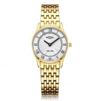 Womens Gold Plated Ultra Slim Rotary Watch