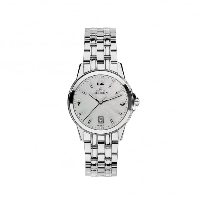 Michel Herbelin Womens Steel Ambassador Watch With Mother of Pearl Dial 14250/B19