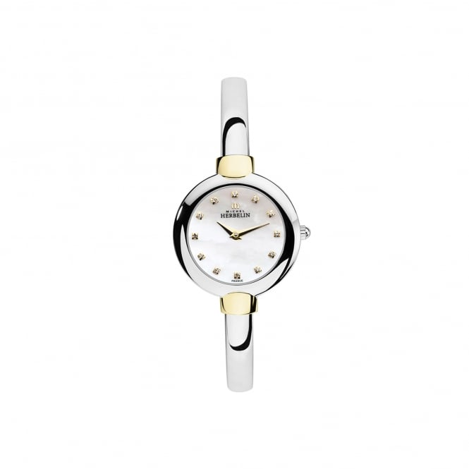 Michel Herbelin Womens Steel and Gold Plate Bangle Salambo Watch 17413/BT59