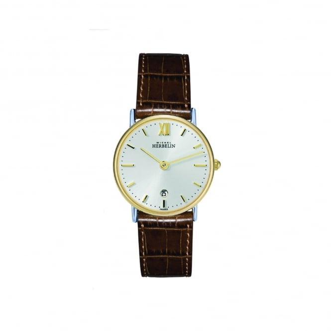 Michel Herbelin Womens Steel and Gold Plate Watch With Leather Strap 16845/T11GO