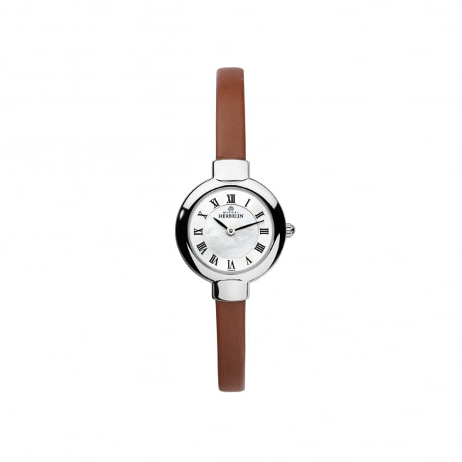 Michel Herbelin Womens Steel and Tan Strap Salambo Watch 17410/29GO