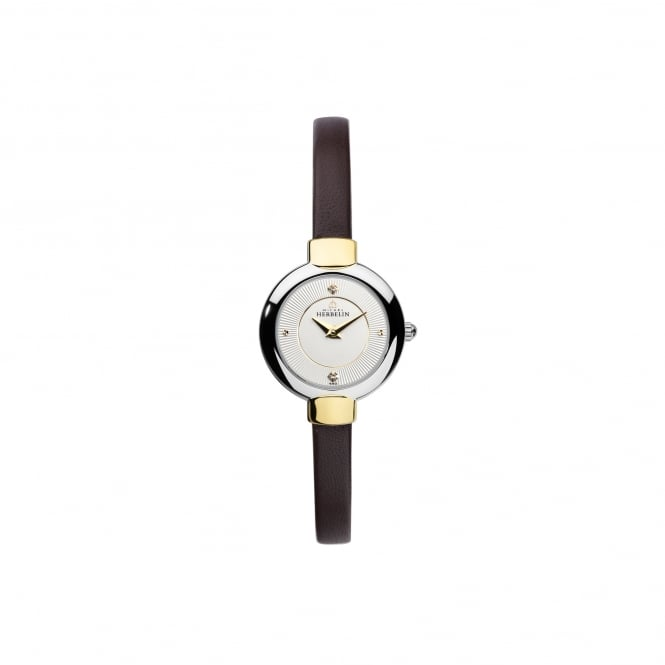Michel Herbelin Womens Steel andGold Plate Salambo Watch With brown Leather Strap 17410/T11MA