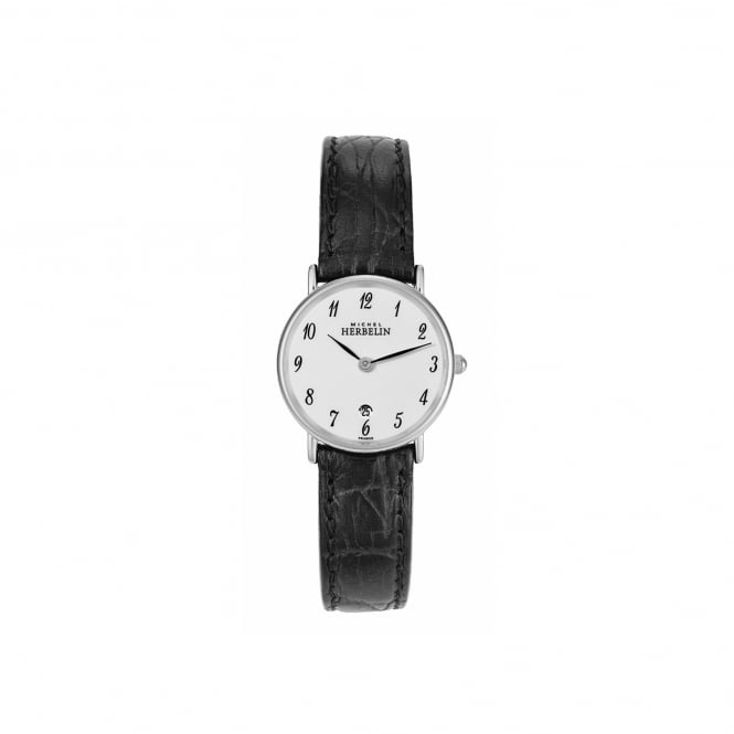 Michel Herbelin Womens Steel Watch With Leather Strap 16845/S28