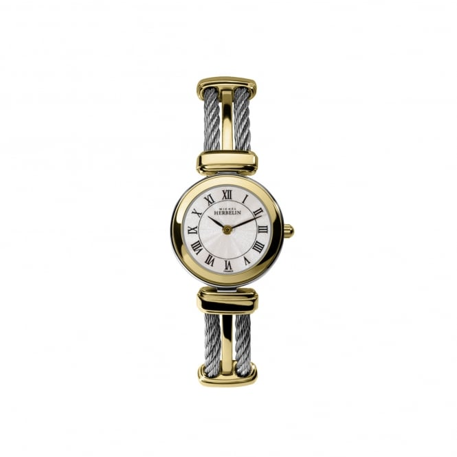 Michel Herbelin Womens Two Tone Cable Style Watch 17420/BT08