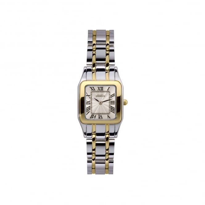 Michel Herbelin Womens Two Tone Watch With Square Face 17427/BT08