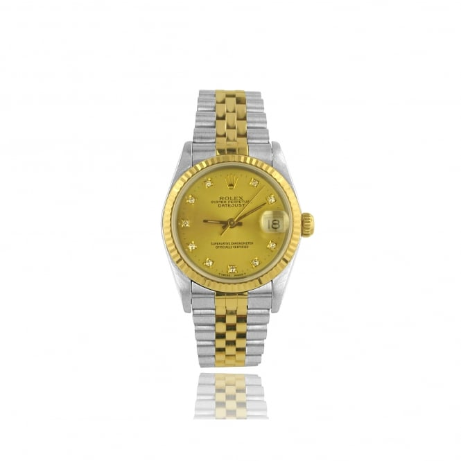 Rolex Womens Mid Size Diamond Dot Dial DateJust Watch in Steel and 18ct Gold