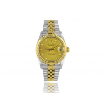 Womens Mid Size Diamond Dot Dial DateJust Rolex Watch in Steel and 18ct Gold