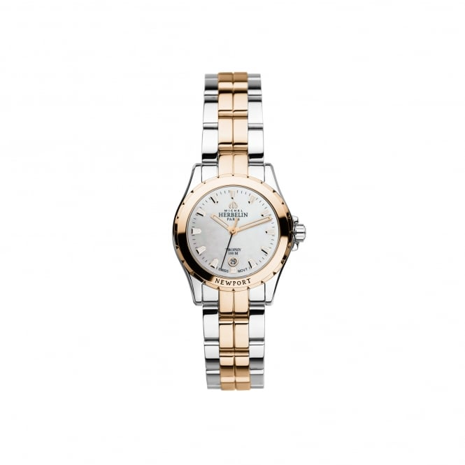 Michel Herbelin Womens Newport Trophy Steel and Rose Gold Plated Watch 12870/BTR19