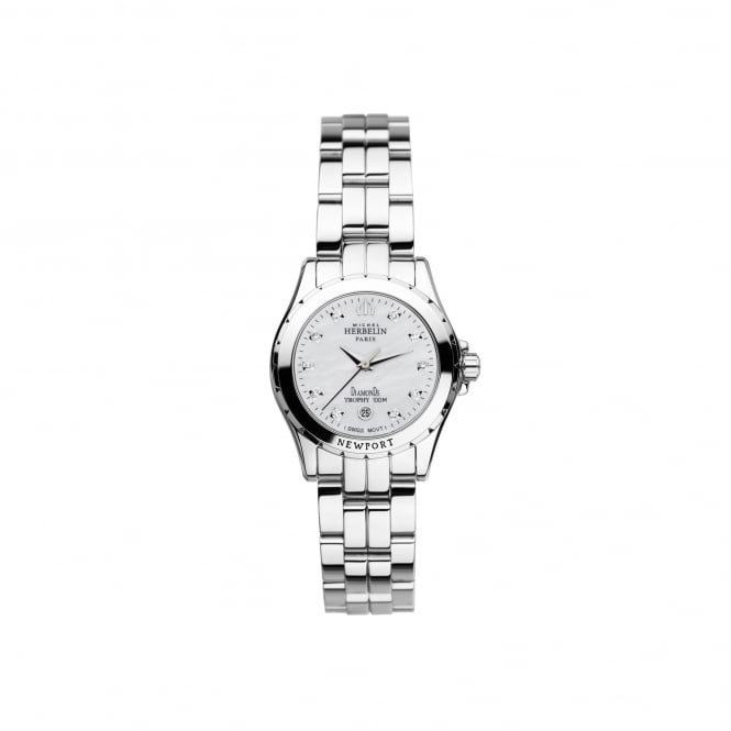 Michel Herbelin Womens Newport Trophy Steel Watch With Mother of Pearl and Diamond Dot Dial 12870/B89