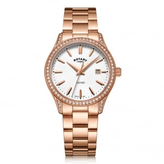 Womens Rose Gold Plated Rotary Watch