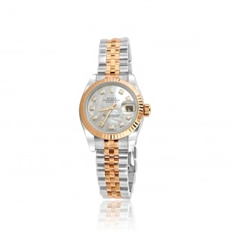 Womens Steel and 18ct Rose Gold Rolex DateJust Watch With Diamond Dot Dial
