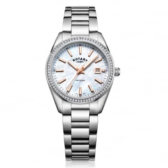 Womens Steel Rotary Watch With Crystal Bezel