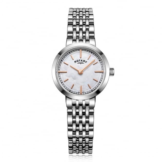 Rotary Womens Steel Watch With Pink Mother of Pearl Face